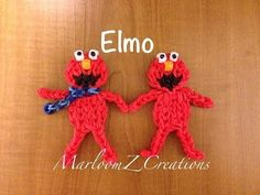 Rainbow Loom ELMO Figure (updated). Designed and loomed by MarloomZ Creations. Click photo for YouTube tutorial. 005/14/14.