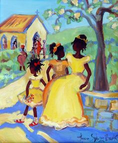Caribbean Art Children Janice Sylvia Brock the start of brainwash, church, class division but it is a place to start one journey. Art And Illustration, African American Art, African Art, Gravure Photo, Haitian Art, Caribbean Art, Art Africain, Black Artwork, Afro Art