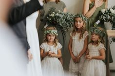 Flower girls wearing simple eucalyptus leaf flower crowns and white lace dresses Flower Crowns, Flower Girls, Vancouver Wedding Photographer, Warehouse Wedding, Documentary Photography, Lace Dresses, Girls Wear, Celebrity Weddings, White Lace