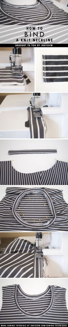 Finish your knit garments with professional looking necklines! This post covers the step-by-step process.   Indiesew.com