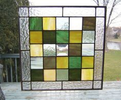 Green stained glass window panel geometric abstract stained glass panel window hanging modern contemporary GS1 on Etsy, $95.00