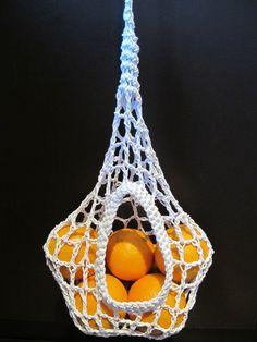 Macrame basket for stuff... Pretty fruit basket & could make wider for bananas :)