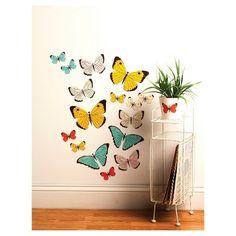 Pastel Butterflies Big Wall Peel & Stick Wall Decal Multicolor 16 Piece - Wallies® : Target