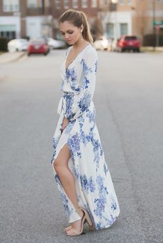 This blue hued floral maxi dress is so beautiful and flattering.  You need this number!