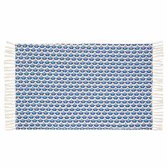 Tapis à franges en coton bleu 60 x 90 cm FLOW