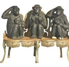 I have a few small sets of the monkeys, but love the larger ones I have seen in Antique malls. A great conversation piece for sure,