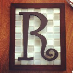 Frame + Tile Backsplash + Wooden Letter + Black Paint + Hot Glue = Christmas Gift for Mom