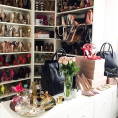 Placing your shoes one forward and one backwards can save a few inches in storage #couturecloset1