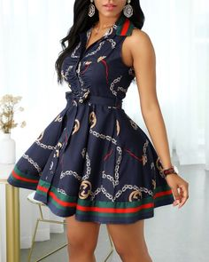 Vestido camisero con botones y aberturas Online. Discover hottest trend fashion at chicme.com Long Shirt Dress, Tie Dress, Sleeveless Shirt, Trend Fashion, Look Fashion, Womens Fashion, Casual Dresses, Cute Dresses, Short Dresses