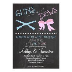 Guns or Bows Gender Reveal Party Invitation #genderreveal #babyinvitation #itsaboy #itsagirl #pinkorblue #babyshower