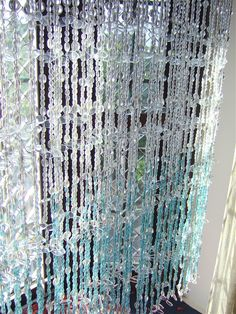 White Blue Leaf Bead Curtain | Memories of a Butterfly, Buy Beaded Curtain