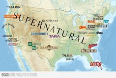 The TV map of the U.S.  hehehe, supernatural, yesssss.