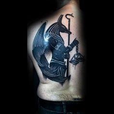 Manly Anubis Black Ink Back Tattoos For Men