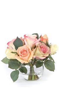 Mixed Rose Nosegay Waterlike Silk Flower Arrangement