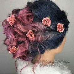 pink and dark blue hair w roses tucked in