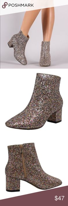 "Cape Robbin Colorful Glitter Ankle Boots Step your bootie game up with these LOVELY sparkly, glitter ankle boots!  Ankle boots come with an inside zipper closure, a mid-height heel  and round toe.   They will BE LOVELY with leggings or a cute dress!!   Non-skid sole and cushioned footbed.  Color- Nude / colorful glitter   Synthetic upper, synthetic sole  Measurements approx: Heel 2"", 7"" shaft, 10"" opening circumference.  *new boots* has a little bit of wear on the bottom of boot from trying…"