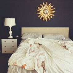 LA hipster chic blue, gold and white bedroom