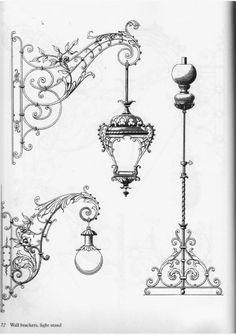 Gothic Architecture, Architecture Details, Muebles Estilo Art Nouveau, Pencil Drawings, Art Drawings, Gravure Illustration, Iron Art, Street Lamp, Architectural Elements
