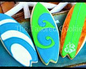 Woody Surfboard Cookies by The Tailored Cookie
