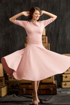 Pink Pirouette Skirt from Shabby Apple: perfect midi length and gorgeous blush color with just enough flare for twirling!