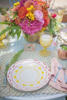 Bright and happy table setting.