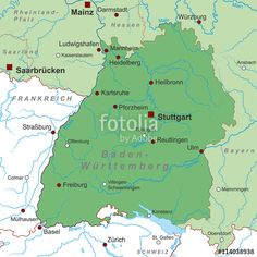 Administrative divisions map of BadenWrttemberg Germany
