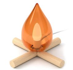 Fire Kit Lamp - This cute Fire Kit Lamp adds a little humor to your decor. The ironic piece is a fire-free lamp that resembles a campfire, like the ones you used t.