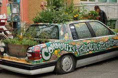 Okay - this is what we should do with those old cars  Seeds and Sawdust: Gleason's Guide to the Handmade & Homegrown: Small Space Gardening