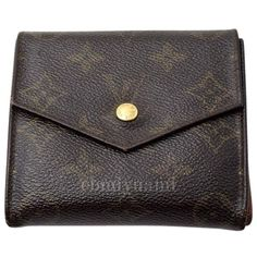Pre-owned 100%  Louis Vuitton Monogram Double Snap Trifold Wallet ($100) ❤ liked on Polyvore featuring bags, wallets, accessories, brown monogram, change purse, snap wallet, pocket wallet, snap closure wallet and louis vuitton