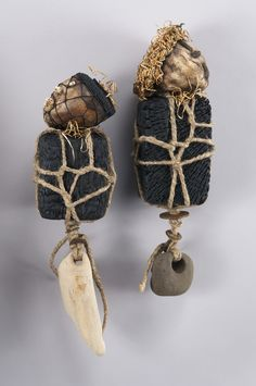 """Shannon Weber, Oregon """"Guardians"""" encaustic objects with teeth and beach glass, hand woven tops of waxed linen and kelp-"""