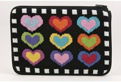 Alice Peterson Cosmetic Purse - Hearts On Black - Needlepoint Kit. Stitch & Zip Preassembled Cosmetic cases are available in several designs, such as floral, na Needlepoint Belts, Needlepoint Stockings, Needlepoint Pillows, Needlepoint Patterns, Snowman Christmas Ornaments, Halloween Ornaments, Needlepoint Christmas Stocking Kits, Interchangeable Knitting Needles, Alex Toys