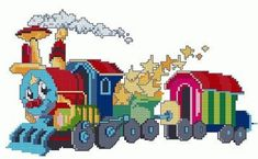 tren-thomas transportation- x stitching Cross Stitch For Kids, Cross Stitch Baby, Cross Stitch Charts, Cross Stitch Patterns, Cross Stitching, Cross Stitch Embroidery, Unicorn Cross Stitch Pattern, Thomas The Train, Free Graphics