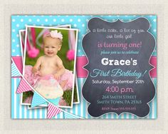 1st Birthday Invitation Aqua and Hot Pink  by InvitationsByLittleP