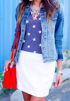 2013 ILY Star Tank / Nordstrom Skirt  / Madewell Jean Jacket / ILY Cosmic Necklace / ILY Mirrored Crystal Necklace