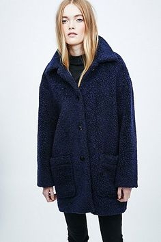 Cooperative Teddy Coat in Navy - Urban Outfitters