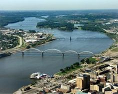 Quad Cities - Where the Mississippi River flows east to west for the only time on its course.