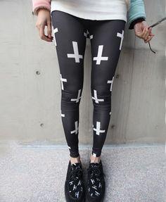 Mono Cross Print Leggings