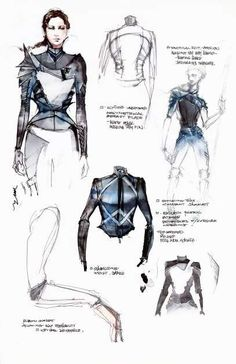 Fashion Sketchbook - fashion sketches; creative fashion design process // Kurt & Bart for The Hunger Games