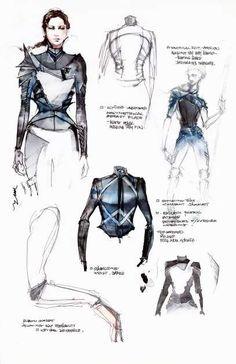 Fashion Sketchbook - fashion sketches; creative fashion design process // Kurt & Bart for The Hunger Games
