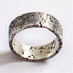 Oxidized Silver Moonscape Men's Wedding Ring