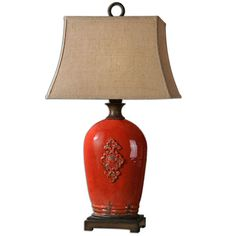Mataline Red Ceramic And Rust Brown One Light Table Lamp Uttermost Accent Lamp Table Lamps