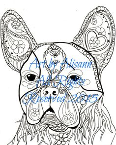 boston terrier digital pdf download coloring by abeesartstudio - Boston Terrier Coloring Page