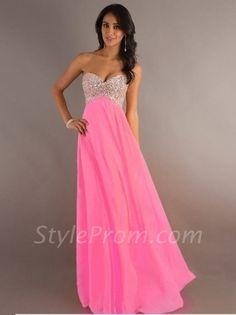 Trendy A-Line/Princess Sweetheart Sleeveless Rhinestone Sleeveless Floor-length Chiffon Dress