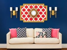 """Very cool wall pattern """"Cascade"""" is great for accent walls and more! This stencil pattern will look great not just on walls, but also on fabrics (curtains), floors and rugs. Stencil patterns by Cutting Edge Stencils Stencil Decor, Wall Stencil Patterns, Stencil Designs, Diy Wall Art, Canvas Wall Art, Wall Decor, Ralph Lauren Paint, Hgtv Magazine, Cutting Edge Stencils"""