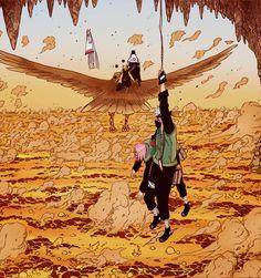 Kaguya vs. Team 7 in dimension of lava