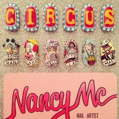 Obsessed with old Circus imagery lately  #nancymcnails #nailart #nails #circus #clown #tattooedlady #strongman #fortuneteller