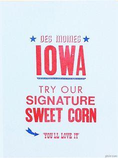 Iowa Sweet Corn Letterpress print by Power a+ Light Press. $14