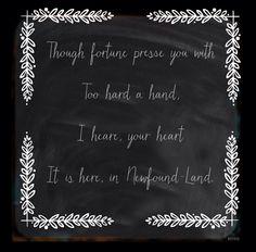 Heartfelt proverb, Newfoundland.