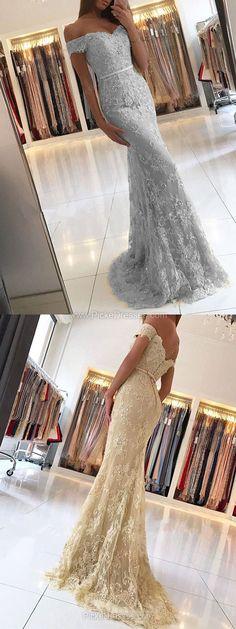 Lace Prom Dresses,Trumpet/Mermaid Prom Dresses Off-the-shoulder, 2018 Formal Dresses Modest, Unique Evening Party Dresses Tulle Appliques #promdresses