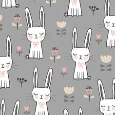 Dreamy Bunny Rabbit on Grey fabric - caja_design - Spoonflower Kids Patterns, Fabric Patterns, Print Patterns, Wallpaper Kawaii, Rabbit Wallpaper, Grey Wallpaper, Inchies, Easter Fabric, Bunny Art